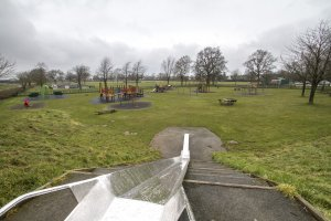 Looking down the slide on the recreation ground